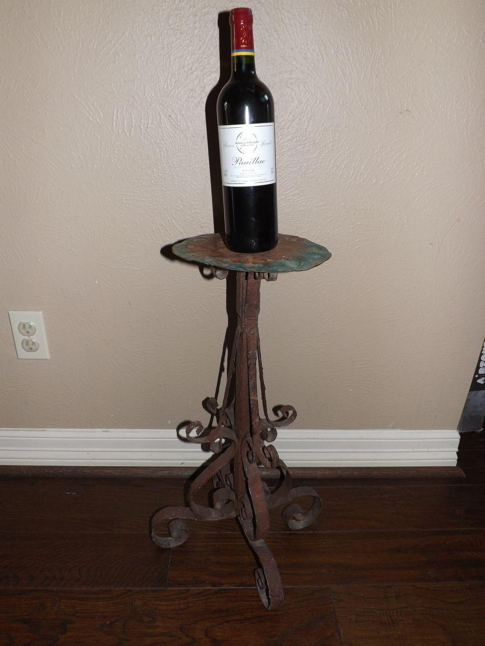 Interesting Old Wrought Iron Candle Stand