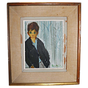 Vintage 1951 Oil Painting of a Young Boy