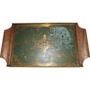 Shabby Chic Toleware Painted Brass Drink Tray with Wood Handles