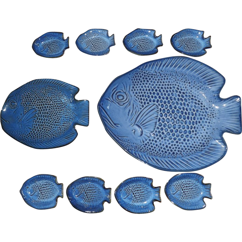 Vintage 10 piece sushi serving set in shape of fish from for Piece of fish