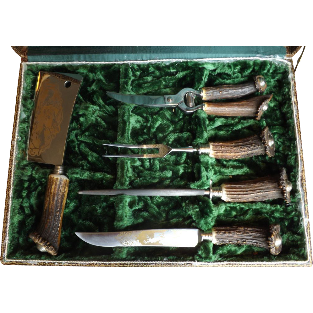 Vintage Antler Handle 5 Piece Carving Set