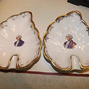 Pair of Antique George Washington Porcelain Ashtrays