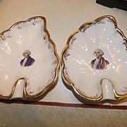 Pair of Antique George Washington Porcelain Ashtrays