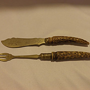 Antique Carved antler handle hors d'oeuvres set pickle fork