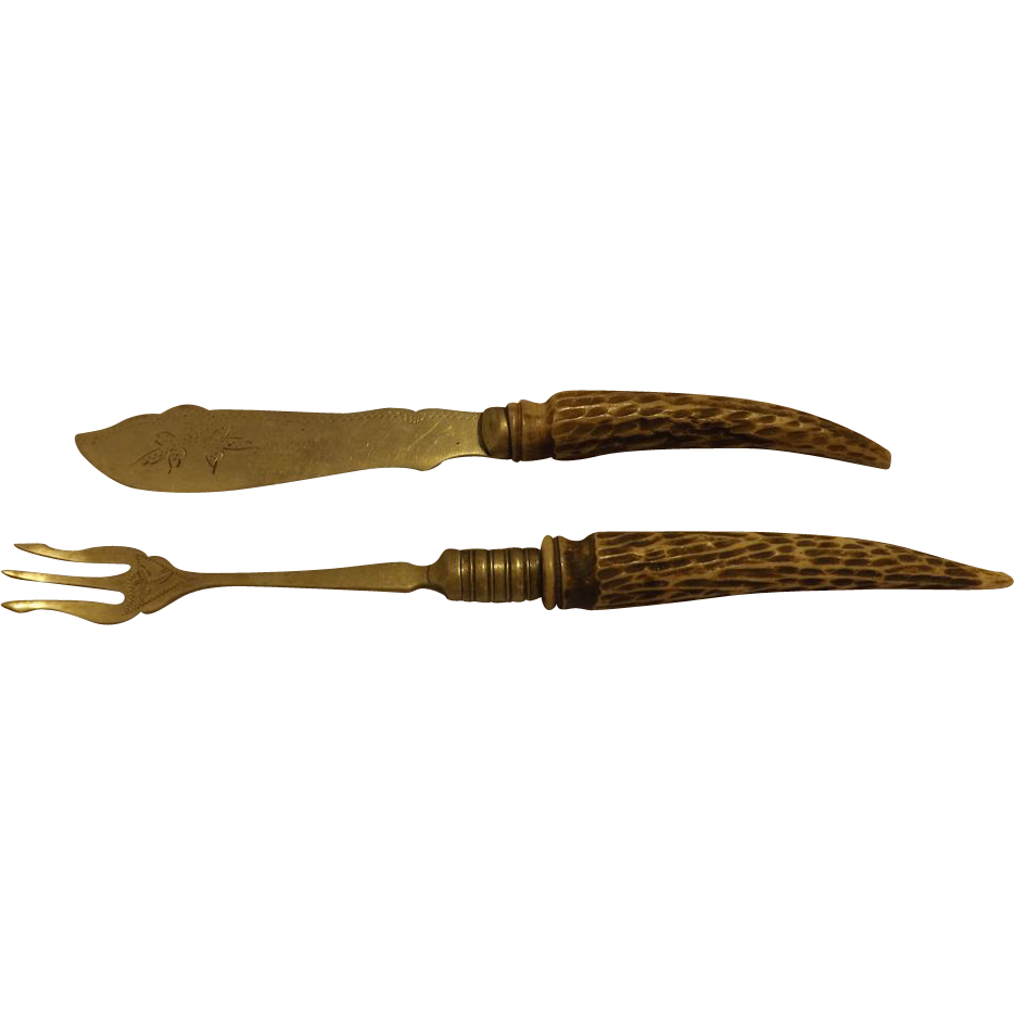 Antique Carved antler handle hors d'oeuvres set pickle fork