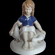 Carl Schneiders Erben / V.E.B. Porzellanfiguren Gräfenthal Porcelain Girl with Geese Figurine