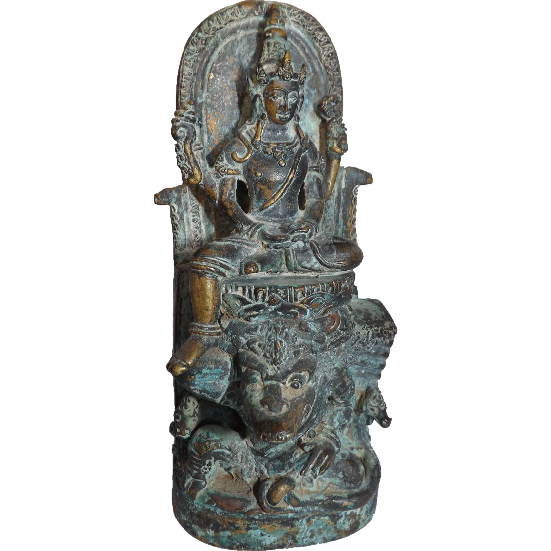 Vintage To Antique Patinated Brass Indian Hindu Goddess