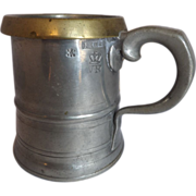 c. 1840 Pint Pewter Measure Tankard with Brass Rim