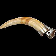 Beautiful Antique Large Boar Tusk Cigar Cutter