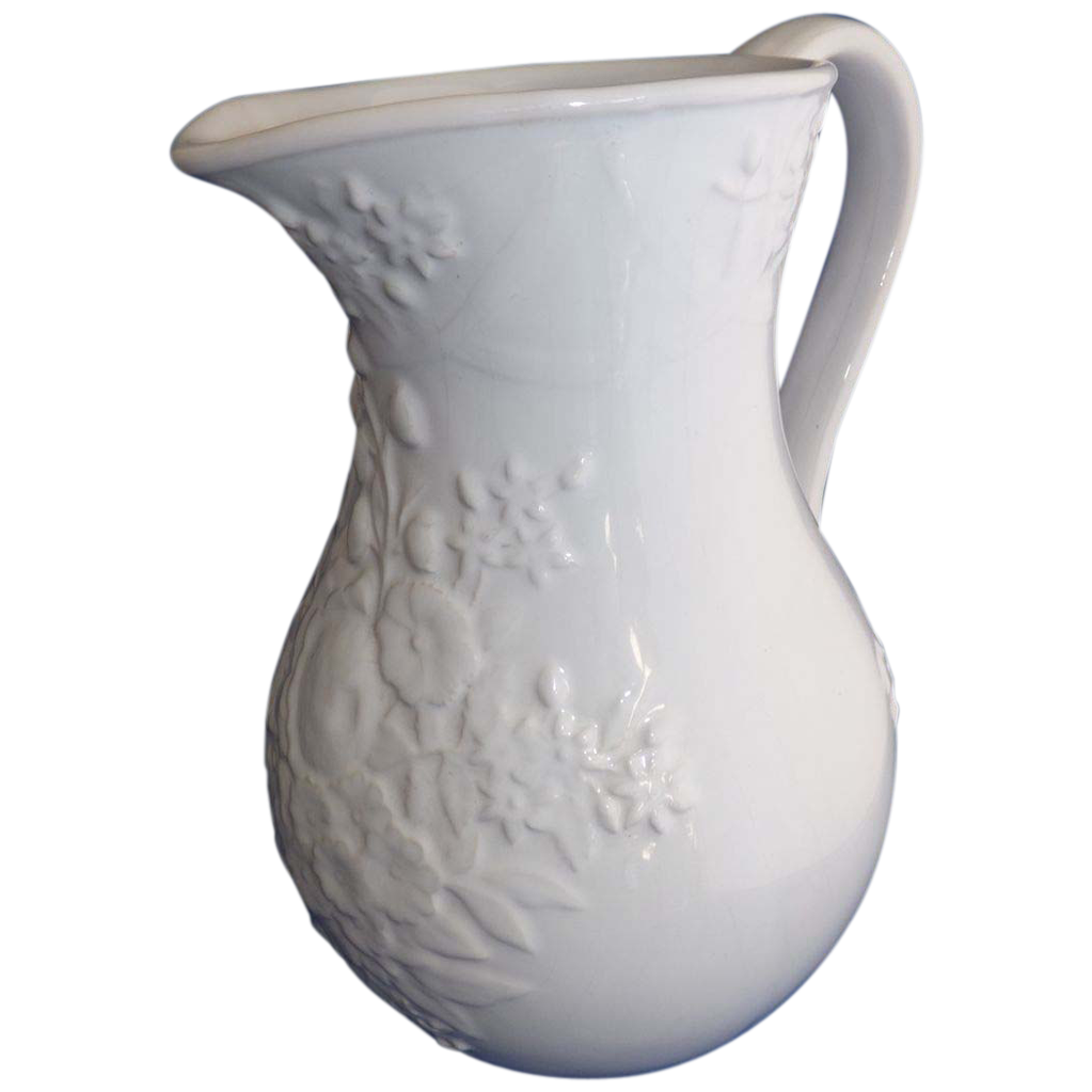 Vintage Bordallo Pinheiro White Porcelain Water Pitcher