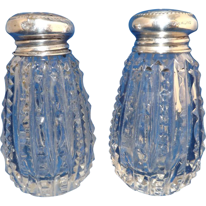 Set of Cut Crystal Salt & Pepper Shakers