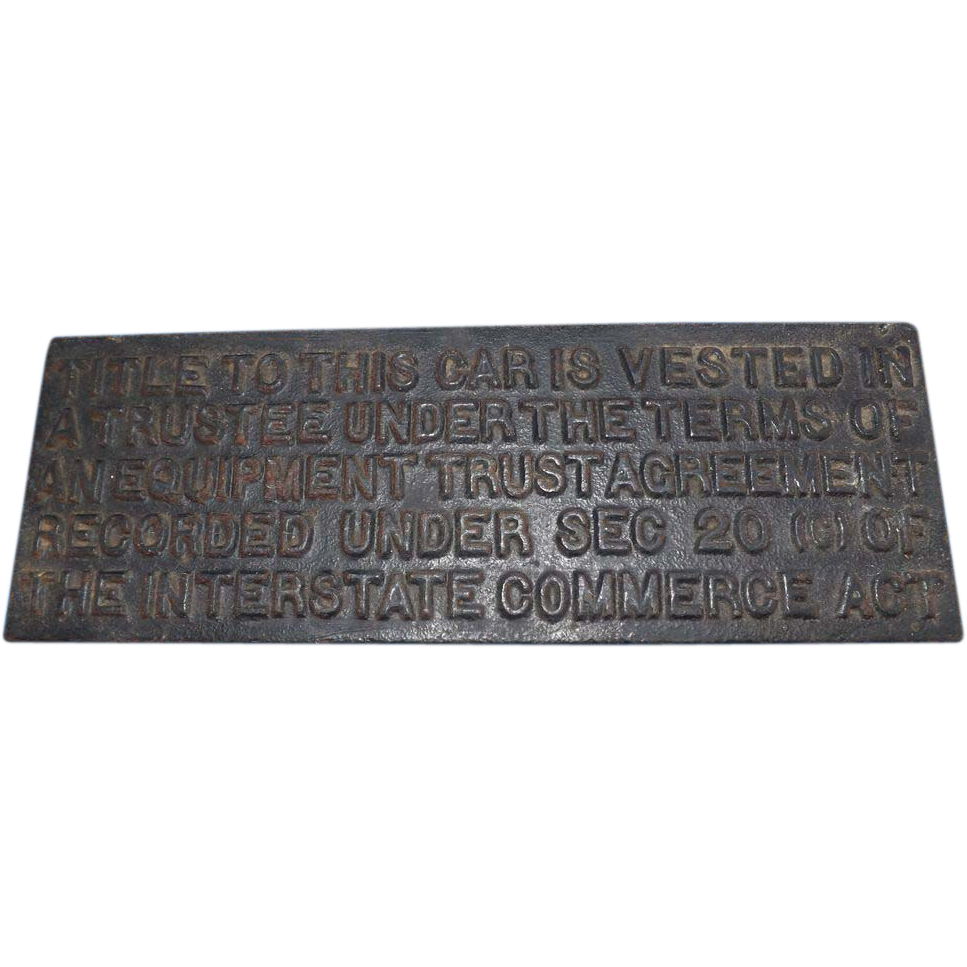 Antique Cast Iron Railroad Railcar Title Plaque Sign
