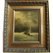 Original Oil Painting by J. Redert Sailboat in a Storm