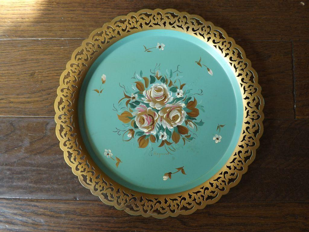 Hand Painted Metal Tole Round Platter - Signed