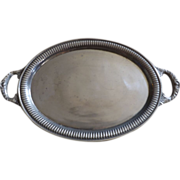 Vintage Pewter Oval Serving Tray