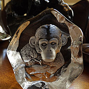 Signed Mats Jonasson Monkey Chimpanzee Art Glass Paperweight