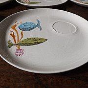 Set of 8 Porcelain Fish Plates Hand Painted in Portugal