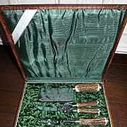 Vintage Antler Handle 5 Piece Carving Set
