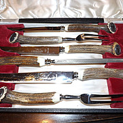 Vintage Antler Handle 6 Piece Carving Set