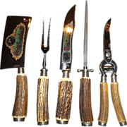 Vintage 5 piece antler handle carving set