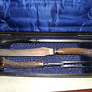 "Antique Antler Carving Set - Monogrammed ""B"""