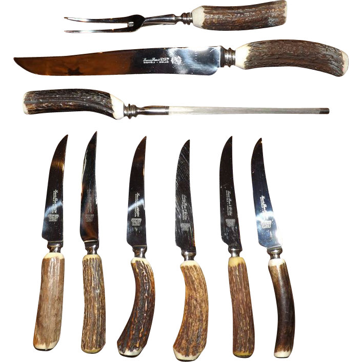 Lewis Rose & Co. Antler Handle Carving Set & Steak Knives
