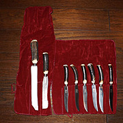 Vintage New Old Stock Antler Handle Carving Set with 6 Steak Knives
