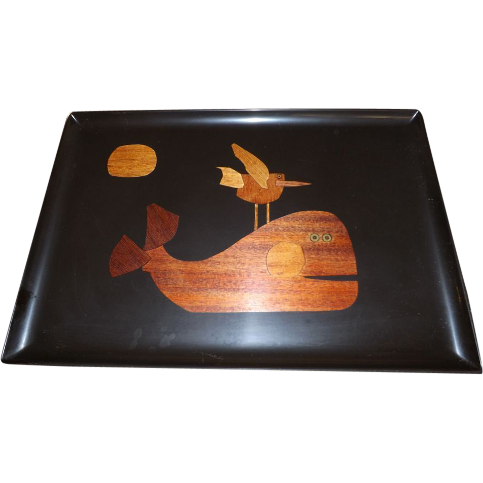 Vintage Couroc Whale Large Serving Drinks Tray