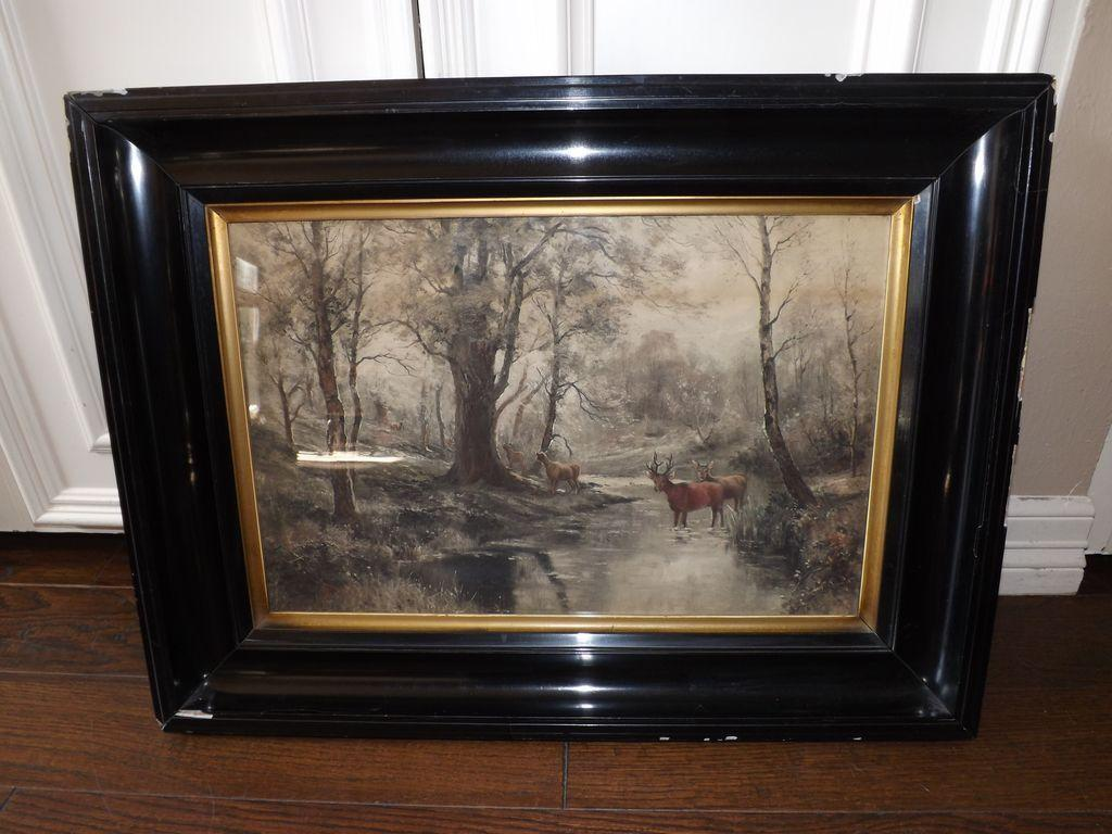 Antique Hand Colored Etching - Deer in the Forest