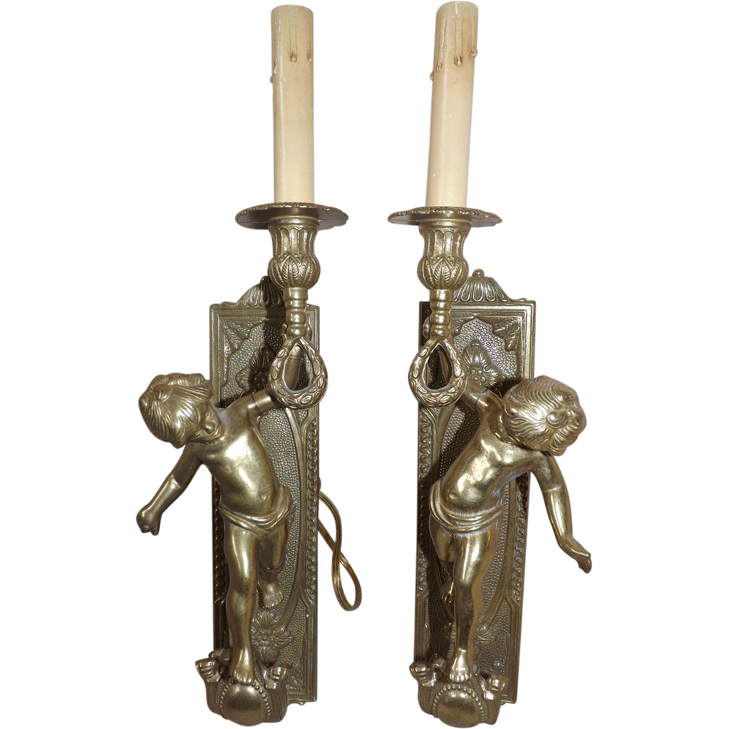 Wall Sconces That Look Like Torches : Pair of Vintage Brass Cherub Putti Torch Wall Sconces from e3antiques on Ruby Lane