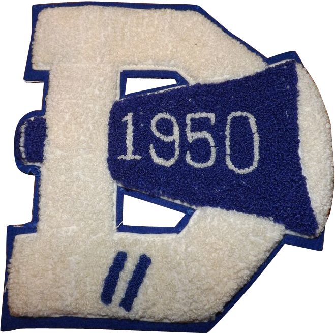 Retro 1950 Letterman Patch Letter D