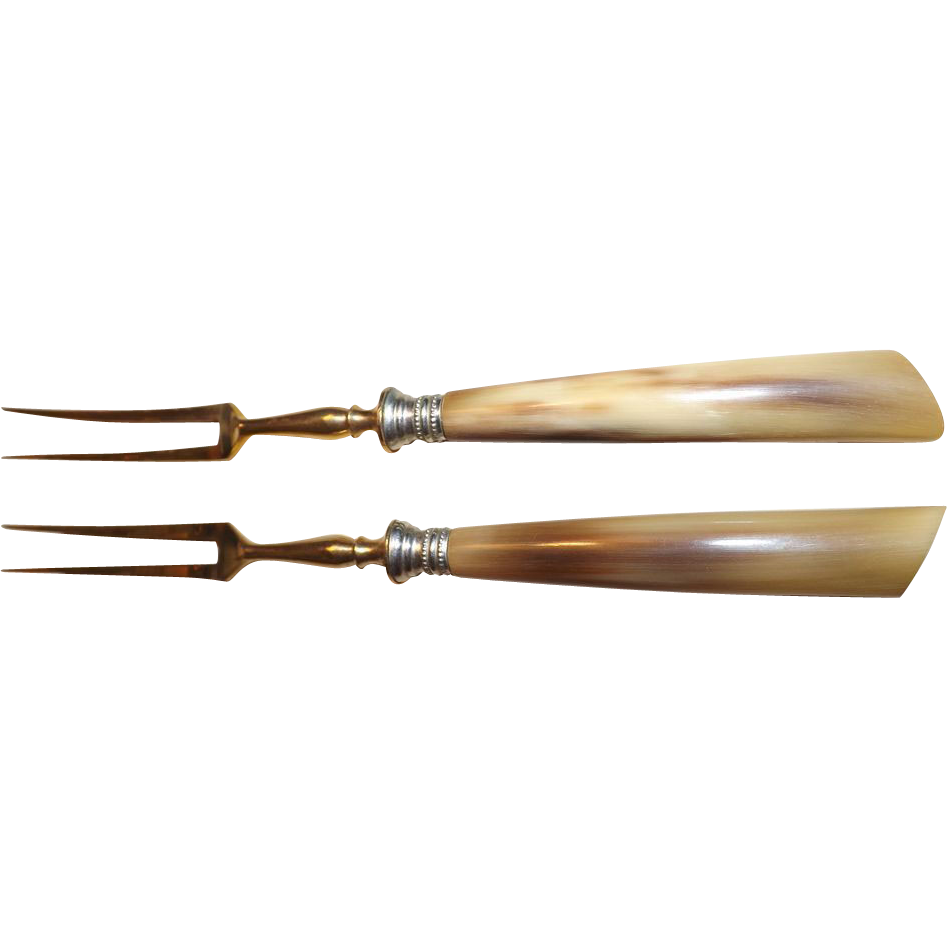 Vintage set of 2 Horn Handle hor d'oeuvres Gold Plated Forks