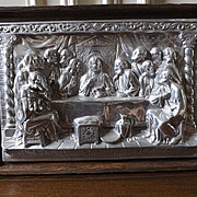 Vintage Heavy Pewter Last Supper Relief Wall Hanging