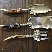 Antique Antler Handle Silver Plated Serving Pieces