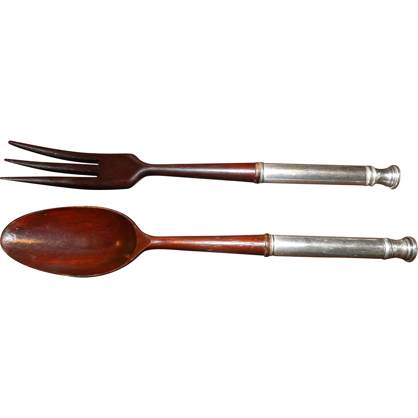 Vintage JH John Hasselbring Sterling and Teak Wood Salad Utensil Set