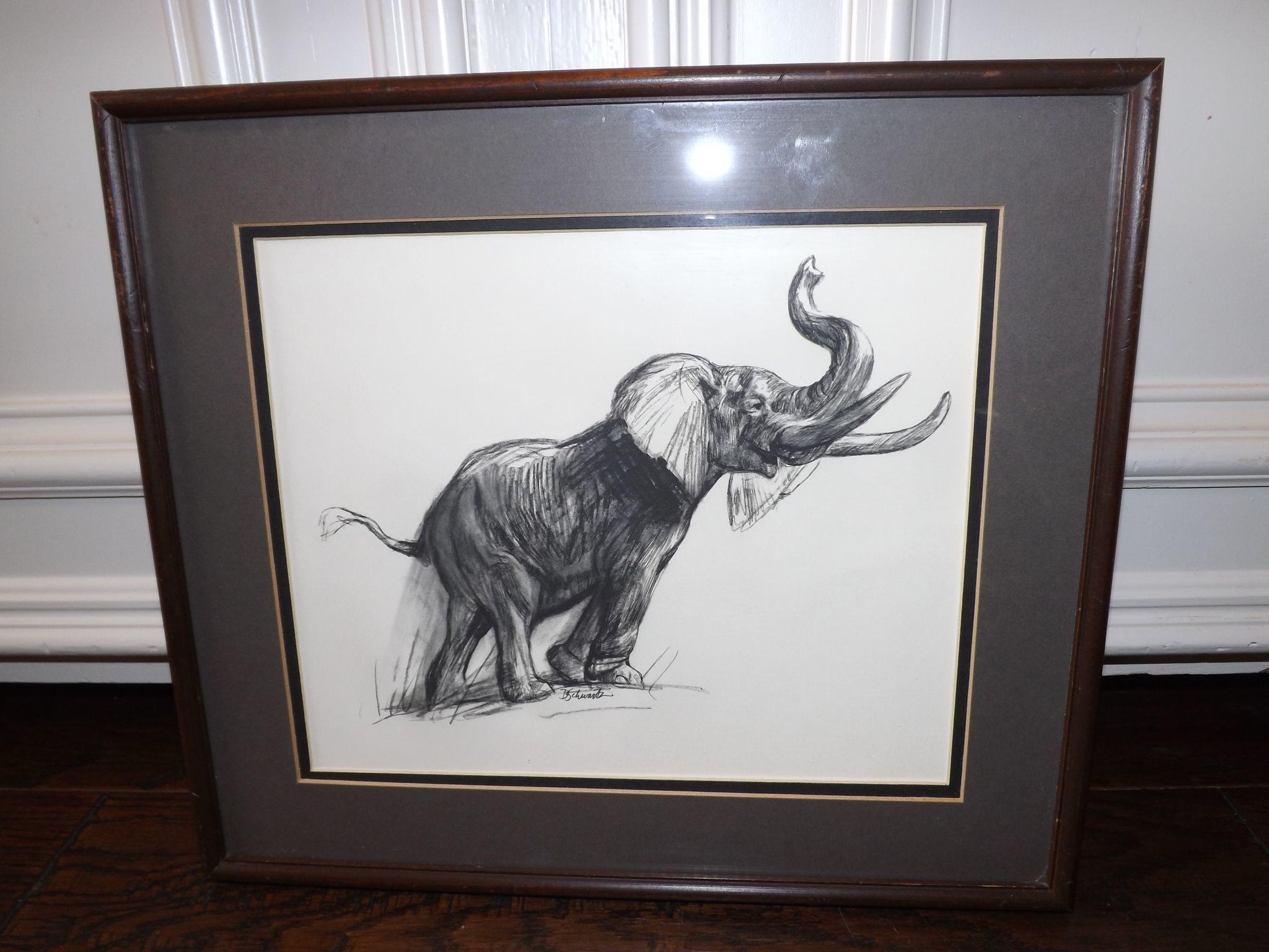 Vintage 1950's David Schwartz Photogravure Print - Elephant