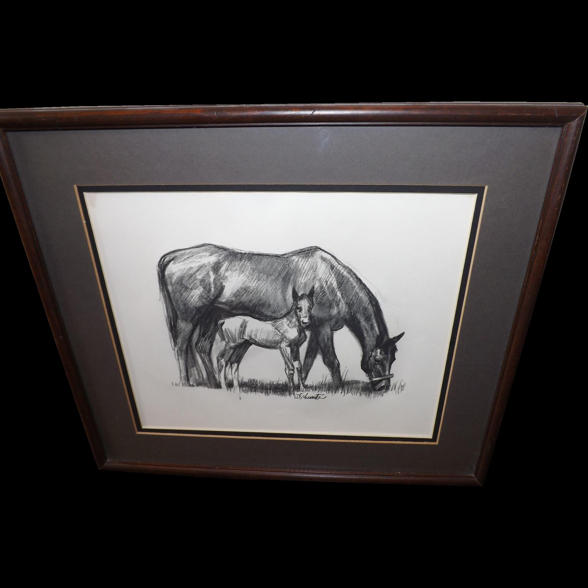 Vintage 1950's David Schwartz Photogravure Print - Mother Horse and Foal