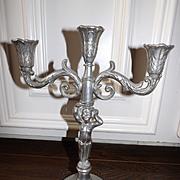 Vintage 3 Light Metal Candelabra with Cherub