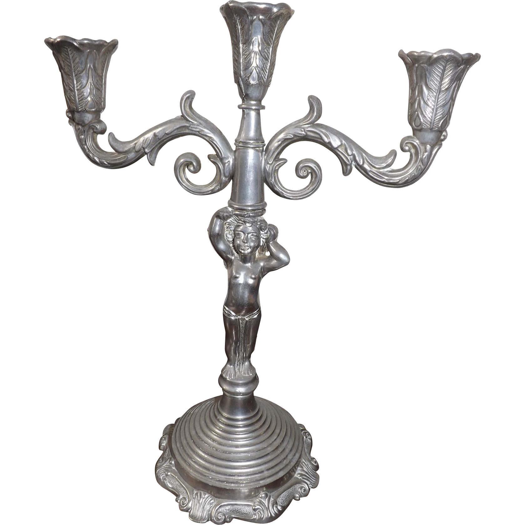 Vintage 3 Light Metal Candelabra with Cherub