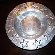 Large Vintage Pewter Serving Bowl with Stars