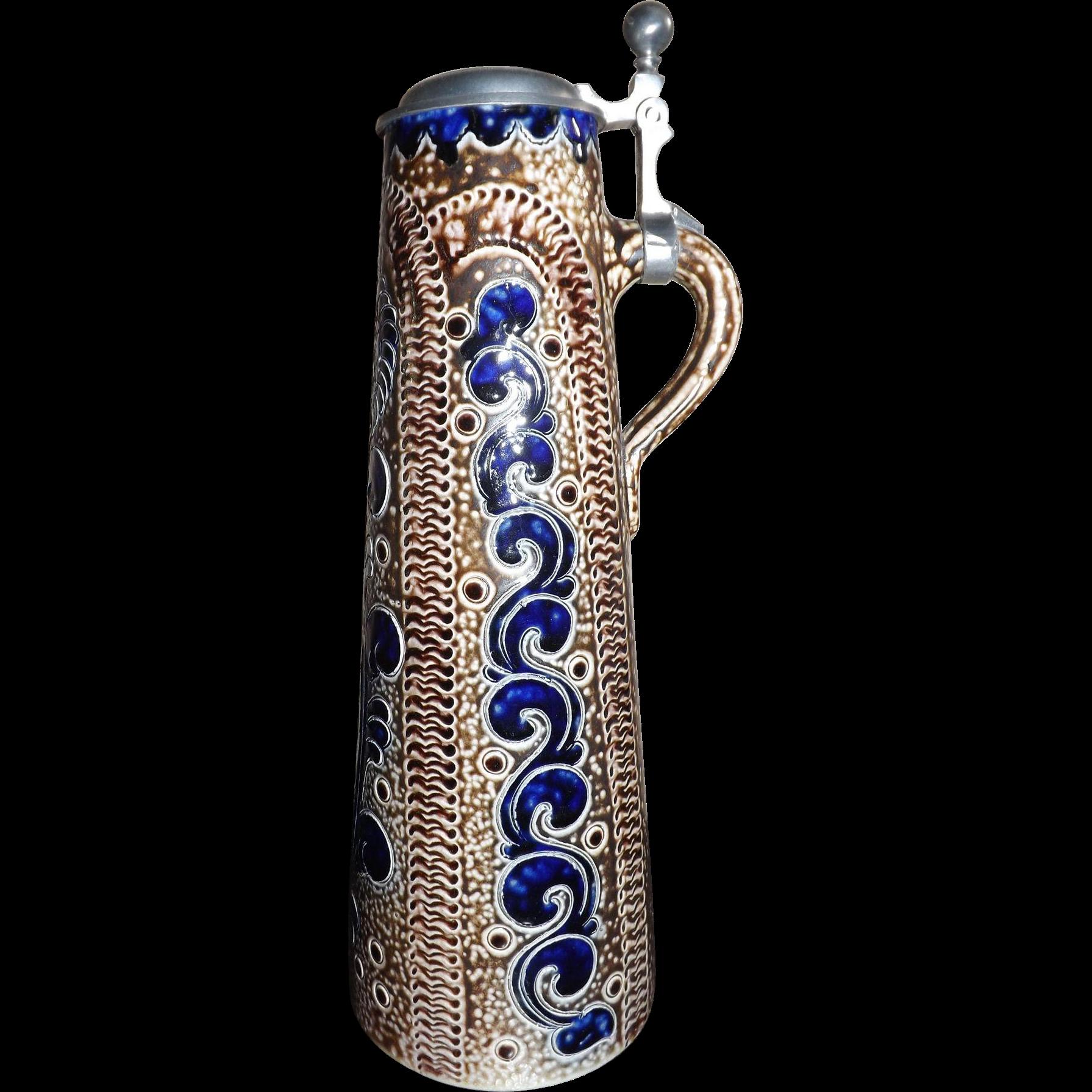 Rare Tall Vintage Merkelbach Grenzhausen Cobalt Art Nouveau Glazed Stein