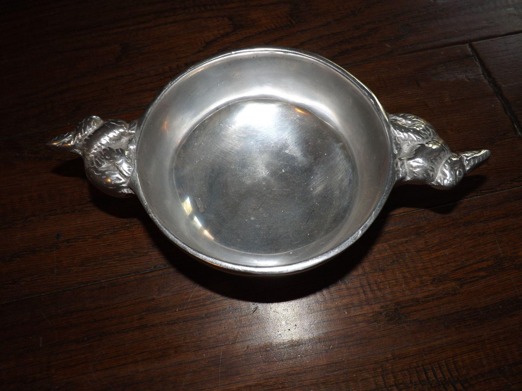 Cast Pewter Bowl with Bunny Rabbit Handles