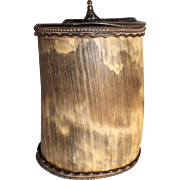 Neat Rustic Antique Lidded Spooner Pen Holder made from Cow Horn