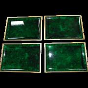 Set of 4 Malachite Otagiri Serving Trays