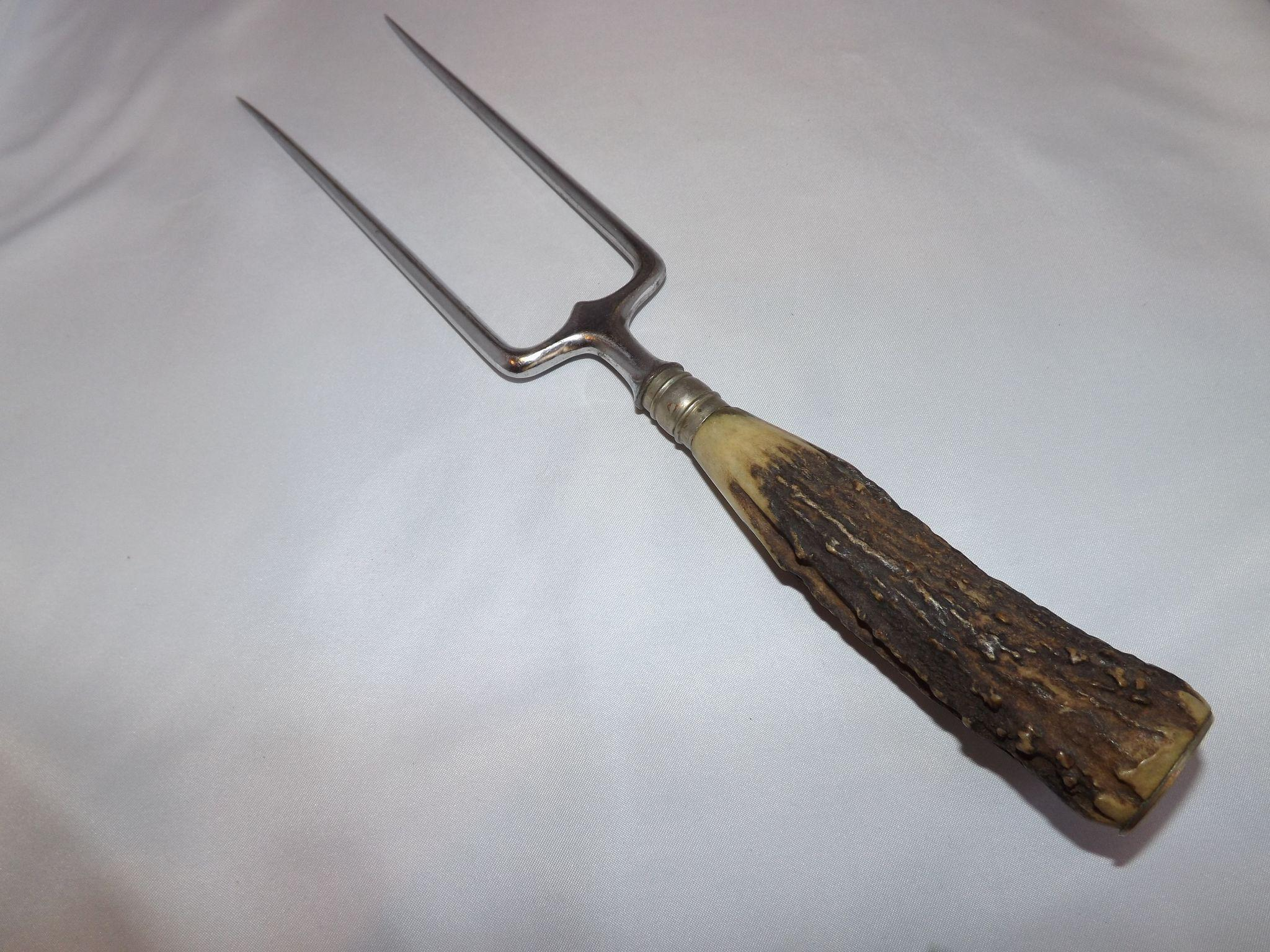 Antique JA Henkels BBQ Meat Fork with Genuine Antler Handle