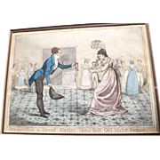 Antique 1821 Etching Presenting a Dropt Garter. Honi Soit Qui Mal y Pense