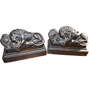 Pair Antique Hand Carved Mahogany Lion of Lucerne Book Ends