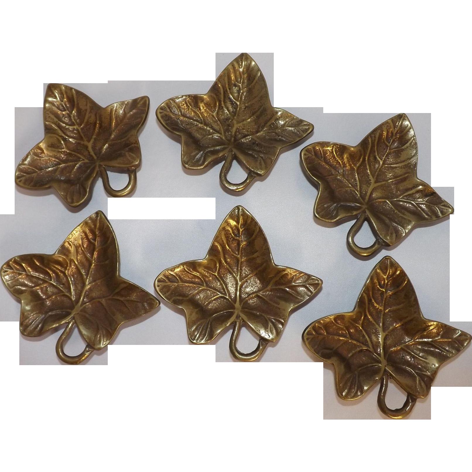 Vintage Brass Ivy Leaf Nut Dishes - Set of 6