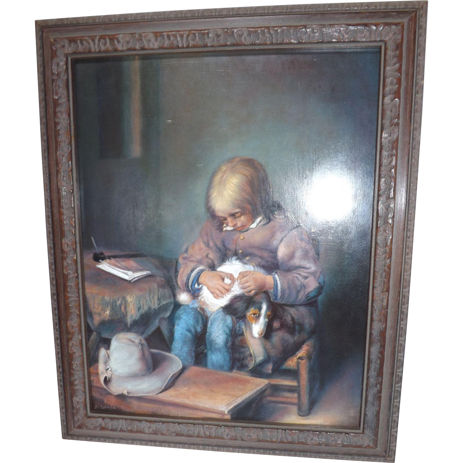 "Original Szloboda Oil Painting ""The Flea Picker"""