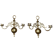Pair 19th Century Cast Brass Colonial Style Candle Wall Sconces